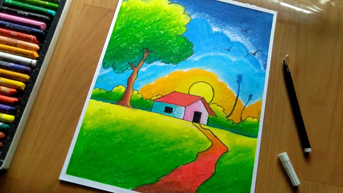 Aj Fine Art On Twitter Simple Village Scenery Drawing For Kids Watch Full Video On Youtube Channel Ajfineart And Subscribe For More Interesting Art Videos Link Https T Co Gdeogcyatp Simplescenery Easydrawing Villegedrawing