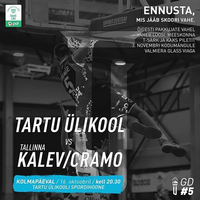 test Twitter Media - Täna on #mängupäev!  Kell 20.30 pannakse Tartu Ülikooli spordihoones pall mängu Tartu Ülikooli ja @kalevcramo hooaja esimeses mõõduvõtus. Tule vaata saalis, kes endale võidupunktid @paflatestbl tabelisse kirjutab.  Mängupileti saad osta Piletikeskuse leh… https://t.co/UZxQvCGlbj https://t.co/IG3rIaUQtW