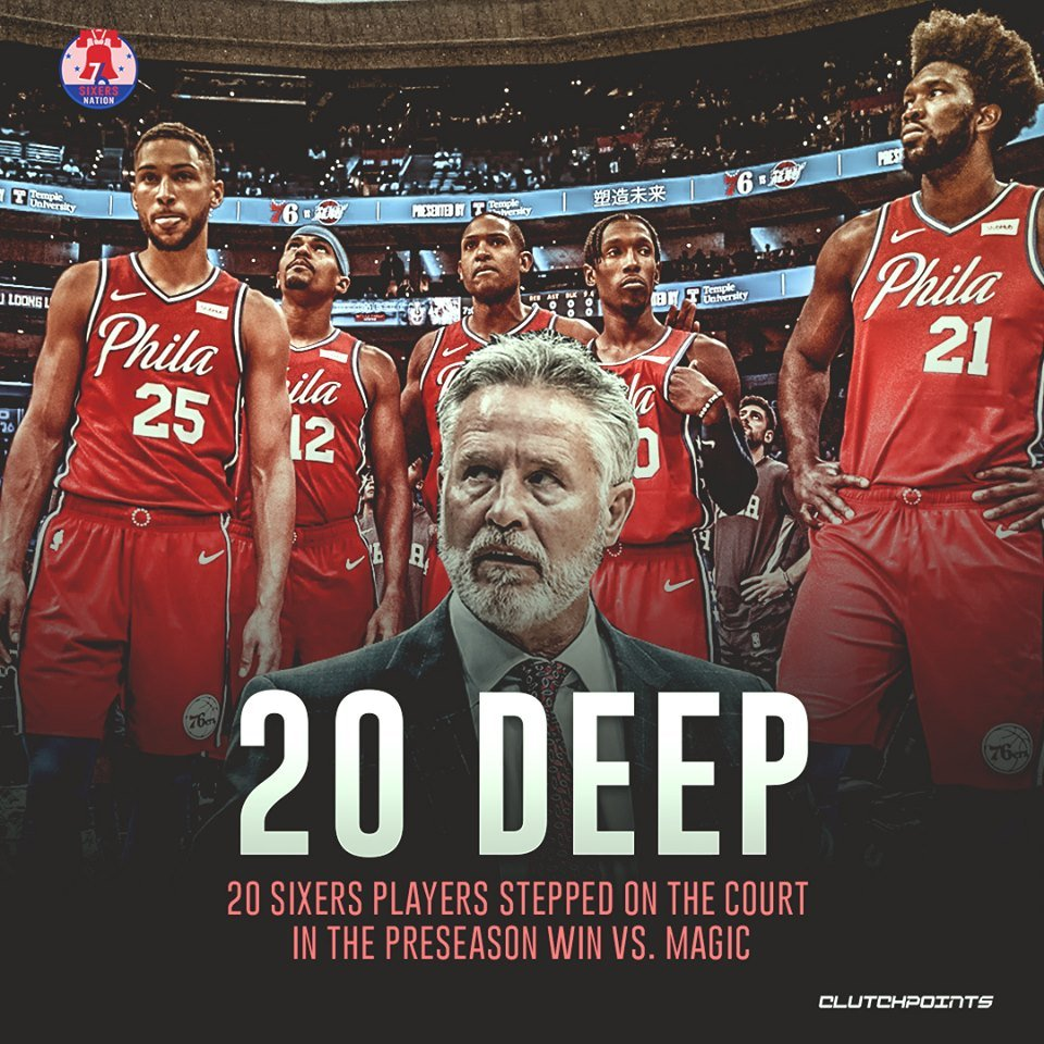 Replying to @SixersNationCP: The Sixers flexed their full strength lineup. 💪  #HereTheyCome #Sixers