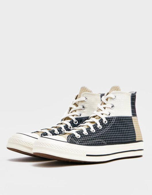 Ad: 30% off Converse Ripstop Chuck 70 High Patchwork at $70 each + FREE shipping Egret/Grey:bit.ly/2Vkmoqg Dewberry:bit.ly/3545el2