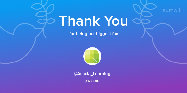 Our biggest fans this week: Acacia_Learning. Thank you! via sumall.com/thankyou?utm_s…