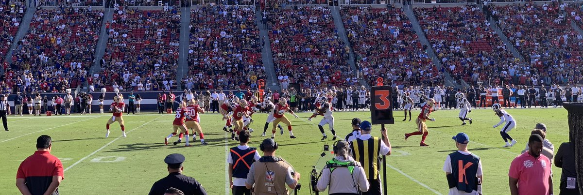 Simply an incredible day. Row 1, Niners sideline....this team is doing something special! @49ers #49ers #BeatLA