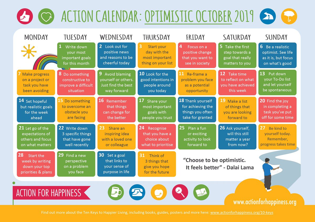 Optimistic October - Day 14: Set hopeful but realistic goals for the week ahead actionforhappiness.org/optimistic-oct… #OptimisticOctober