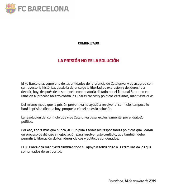 El comunicado oficial del Barcelona.
