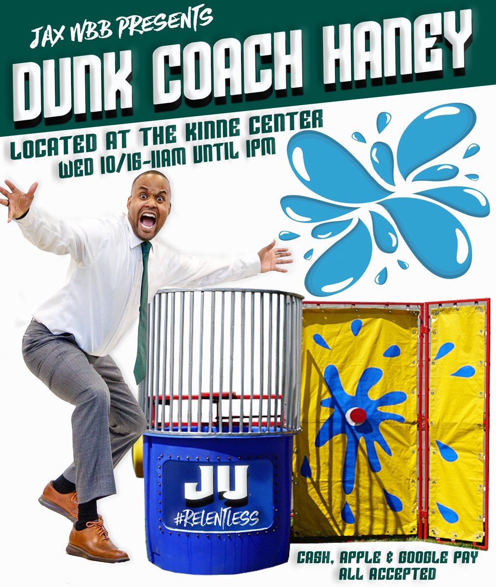 It's Homecoming week Dolphins 🐬 🐬🐬: Come by the Kinne Center on Wednesday for your chance to Dunk @coachdhaney 💦💦💦. This should be a lot of fun! #RELENTLESS @jacksonvilleu @judolphinssaac @ju_dolphinradio @jax_dolphins