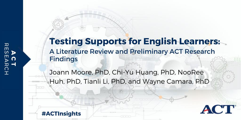 We conducted research around providing testing supports for #ELL. #ACT is committed to increasing postsecondary access for English learners and will continue conducting research on the topic.  More on our preliminary findings: http://bit.ly/2HrYjFo #ACTInsights