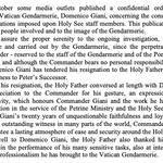 Image for the Tweet beginning: Vatican police commander Domenico Giani