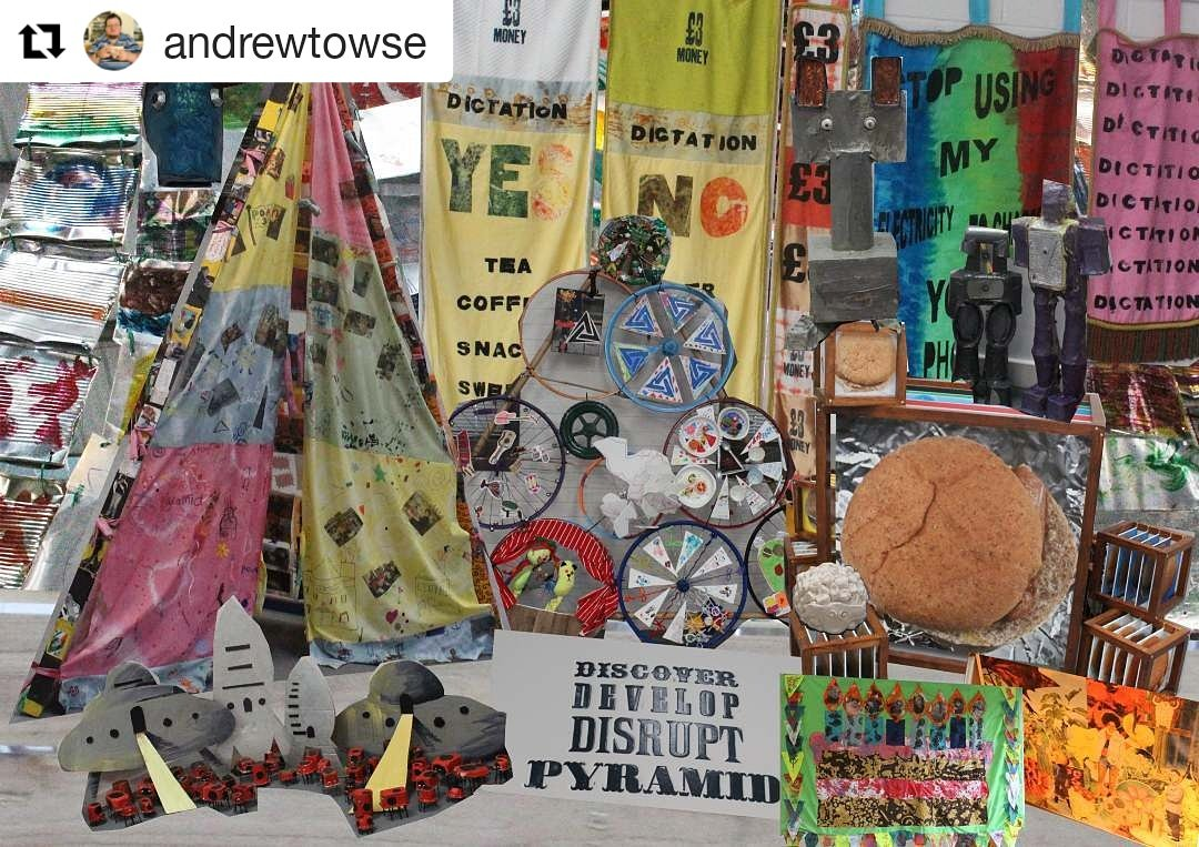 #Repost @andrewtowse The #pyramid30 exhibition at @archiveleeds was SO inspiring for Andrew. He didn't want to miss out anything, and its really interesting how hes arranged the ladybird aliens and robots, looks like they're camping in the pyramid tent!