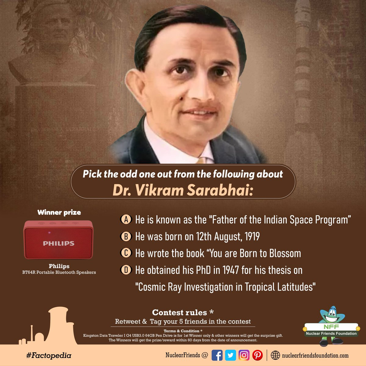 #ContestAlert Pick the odd one out from the following about Dr. Vikram Sarabhai:  Reach us @ http://nuclearfriendsfoundation.com  #Contest #like #RT#comment #chance #Win #prizes #Today #goodluck #competition  #ContestEntry #entertowin  #TuesdayMotivation #TuesdayThoughts @india4contests