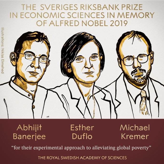 Indian-American Abhijit Banarjee and his wife wins Nobel Prize in economics for 2019 for their experimental approach to alleviating global poverty. भारतीय मूल के अभिजीत बनर्जी के साथ 3 लोगों को मिला 2019 का अर्थशास्त्र का Nobel Prize.