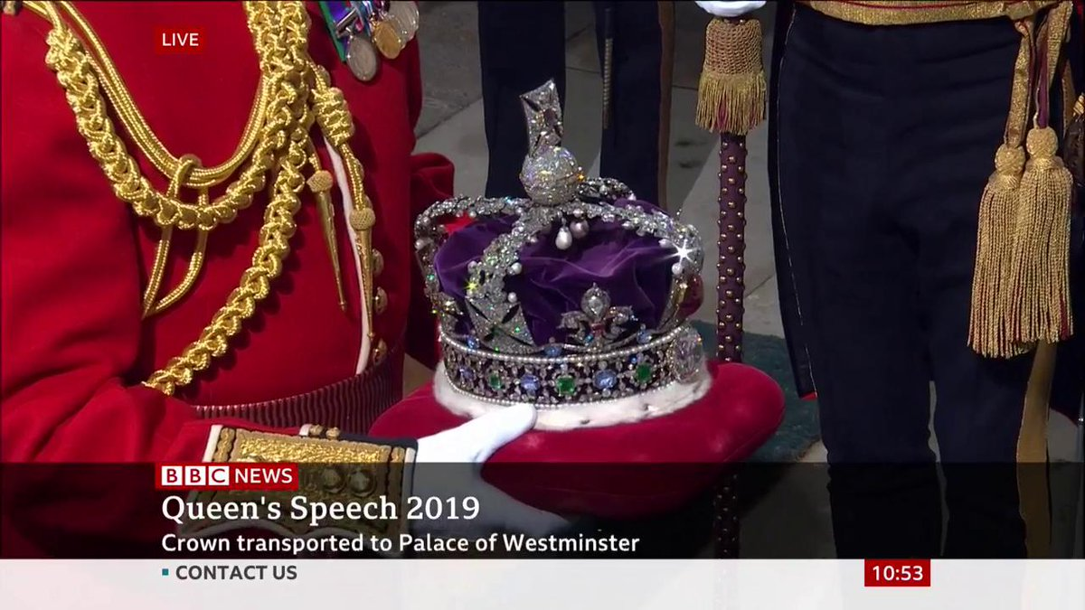 The Imperial State Crown, seen only at coronations and state openings of Parliament, arrives at the Palace of Westminster ahead of the Queens Speech setting out the governments agenda Live updates: bbc.in/2MdqQ7f