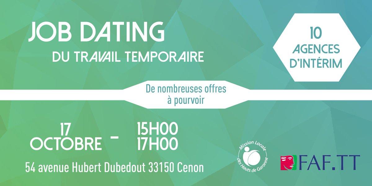 ⏰ RAPPEL JOB DATING ⏰Jeudi 17 octobre la Mission Locale et le FAFTT organisent un #JobDating avec 9 agences d'intérim. ➡️ Des dizaines d'offres à pourvoir ! ⏰ De 15H00 à 17H00.📍 54 avenue Hubert Dubedout, 33150 #Cenon #Lormont #Floirac #Interim #Emploi #Bordeaux https://t.co/Pc3U4VooA3