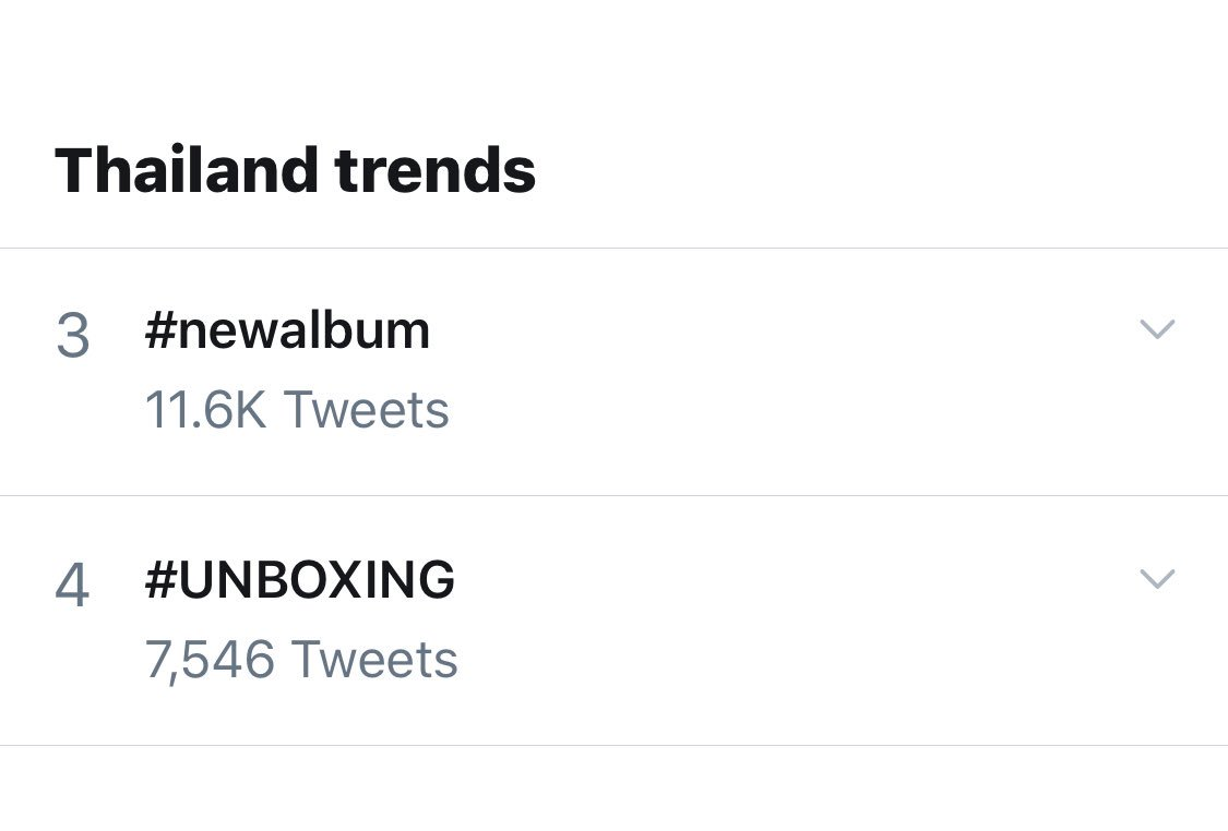 Thailand Trends  17:40 14-10-19  #3 #newalbum  11.6K Tweets   #4 #UNBOXING 7,546 Tweets   #เป๊กผลิตโชค #PeckPalitchoke<br>http://pic.twitter.com/BeHH9Be7Gs
