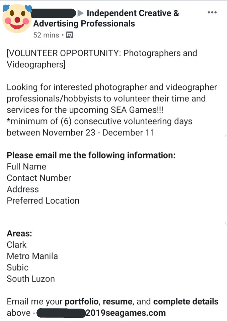 Saw an ad looking for /volunteer/ photographers and videographers to cover the SEA Games for 6 FREAKING DAYS!!!  If we can build whole stadiums, why can't we pay artists who will be vital to promoting the games? Where is the budget going anyway, @SEAGamesPh2019?<br>http://pic.twitter.com/OJ7yggQEHq