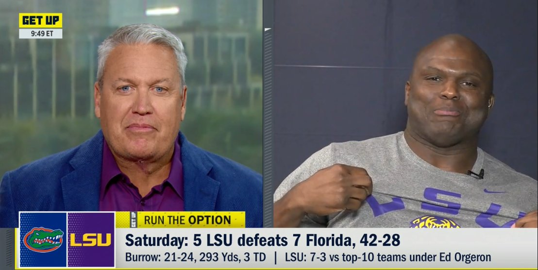 After previewing tonights #MNF game on Get Up, @ESPNBooger gets a moment to praise Coach O and celebrate @LSUfootballs big win this weekend.