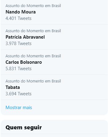 RT @Radam4nthy5: Nando Moura  Patrícia Abravanel  Carlos Bolsonaro  Tabata  Hoje os TT amanheceu meio chernobyl!!! 🤢 https://t.co/PBHMBLl6Tm