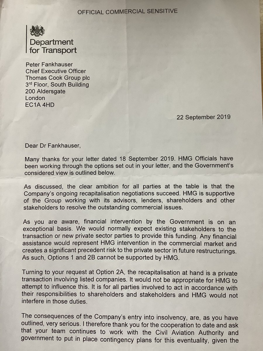 """This is the letter the government sent to Thomas Cook, informing the company that it had decided not to support the rescue plan. """"Significant precedent risk"""" is the reason given for rejecting the request for financial help. Hours after the letter was sent Thomas Cook went bust."""