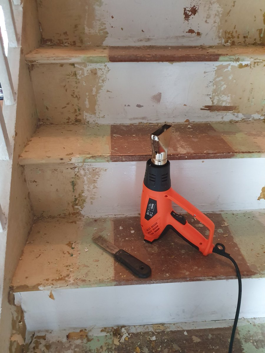 Making the most out of time off without my Thomas Cook holiday to Tunisia , stripping paint off the stairs is actually therapeutic! #Renovation #decorating