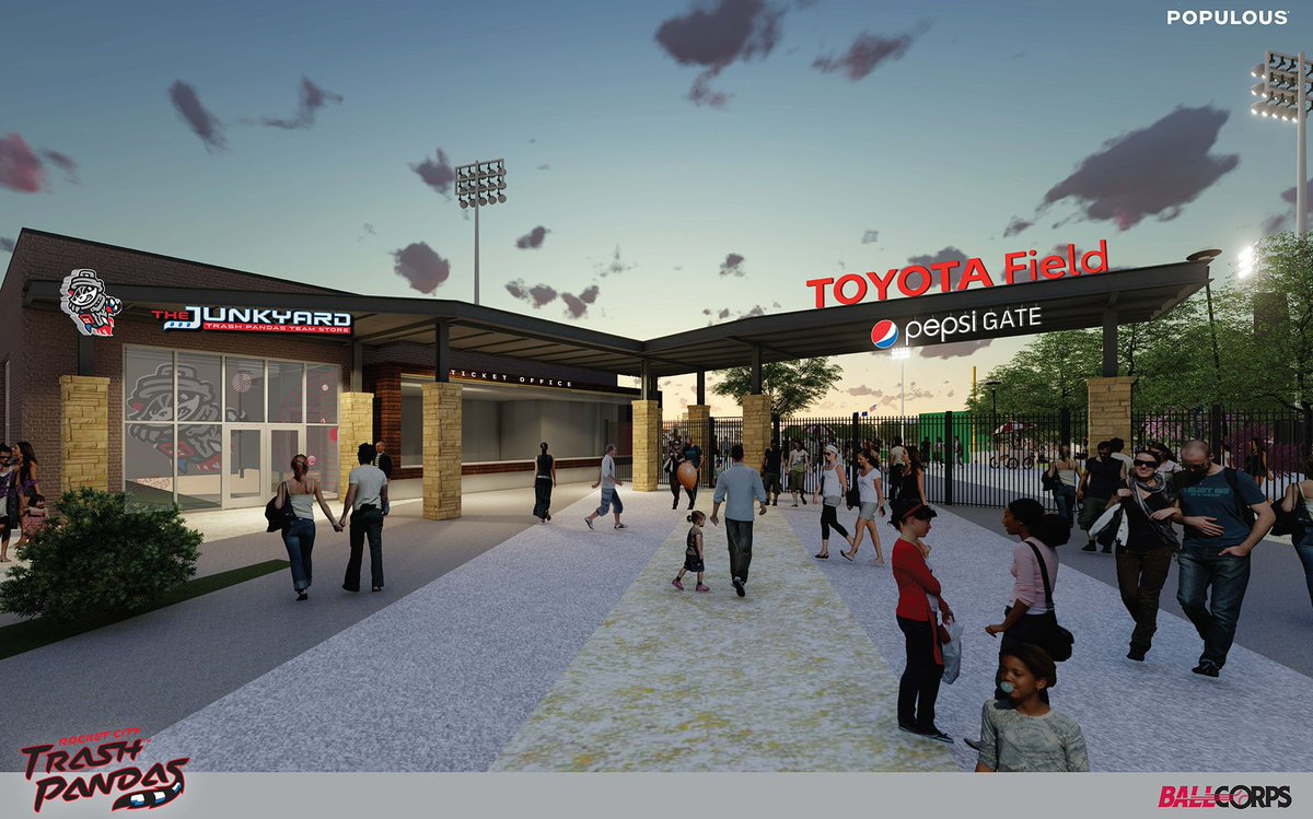 The Rocket City Trash Pandas are very proud to announce the name of our ballpark is now officially called TOYOTA FIELD!! Toyota and the Trash Pandas… it's a great partnership!