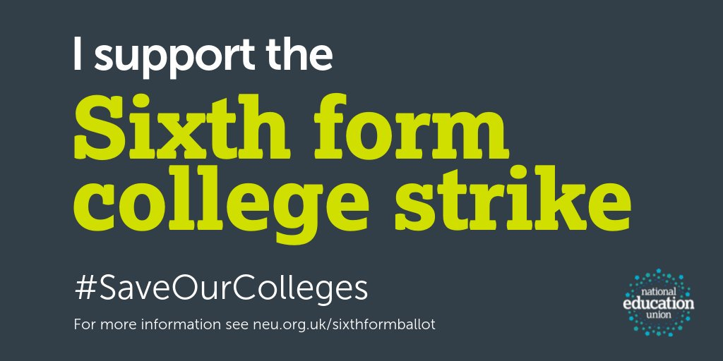 Colleges have borne the brunt of austerity with billions cut from budgets since 2010. The Tories are out of touch and are failing a generation of young people. I support @NEUnion members from 25 sixth forms who are striking tomorrow to #SaveOurColleges.