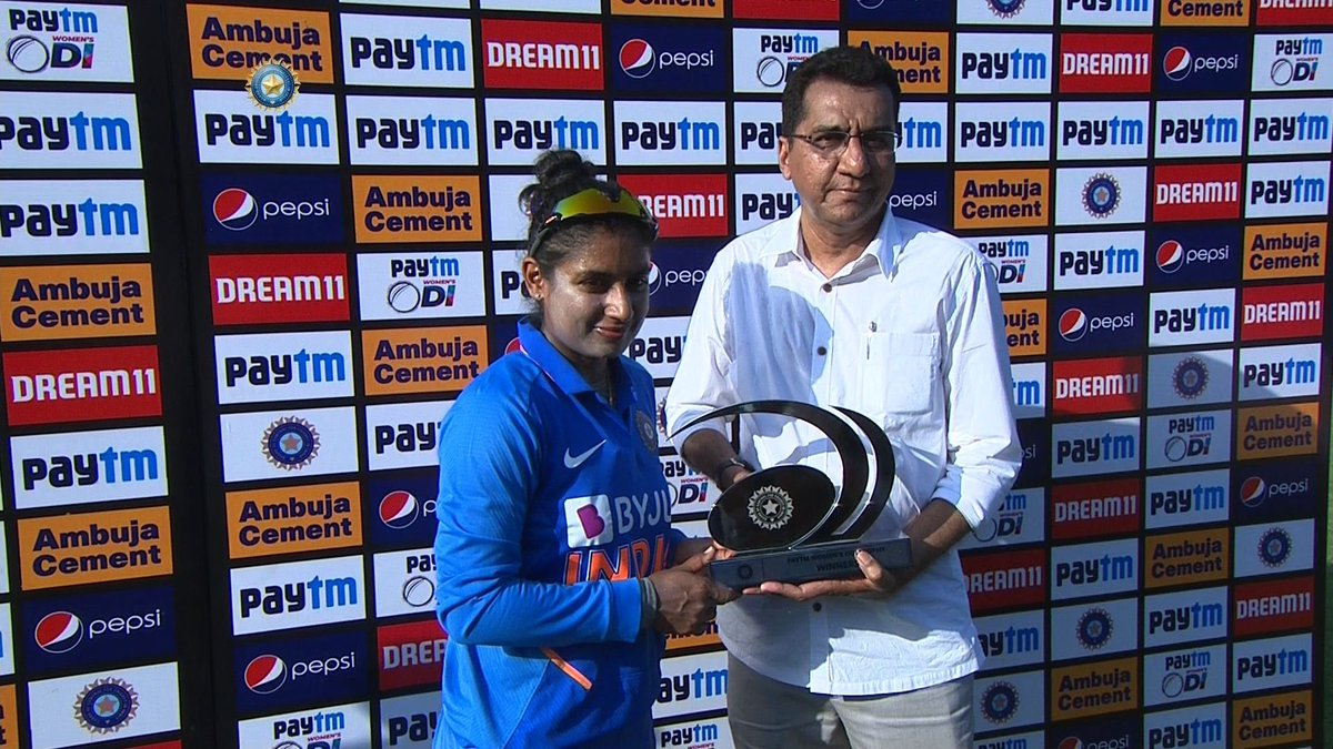 💯and counting.... The joy of victory is much sweeter today as @M_Raj03 completes 100th win as #TeamIndia captain. She is only the second captain to have 100 wins in womens cricket. 👏🏾👏🏾