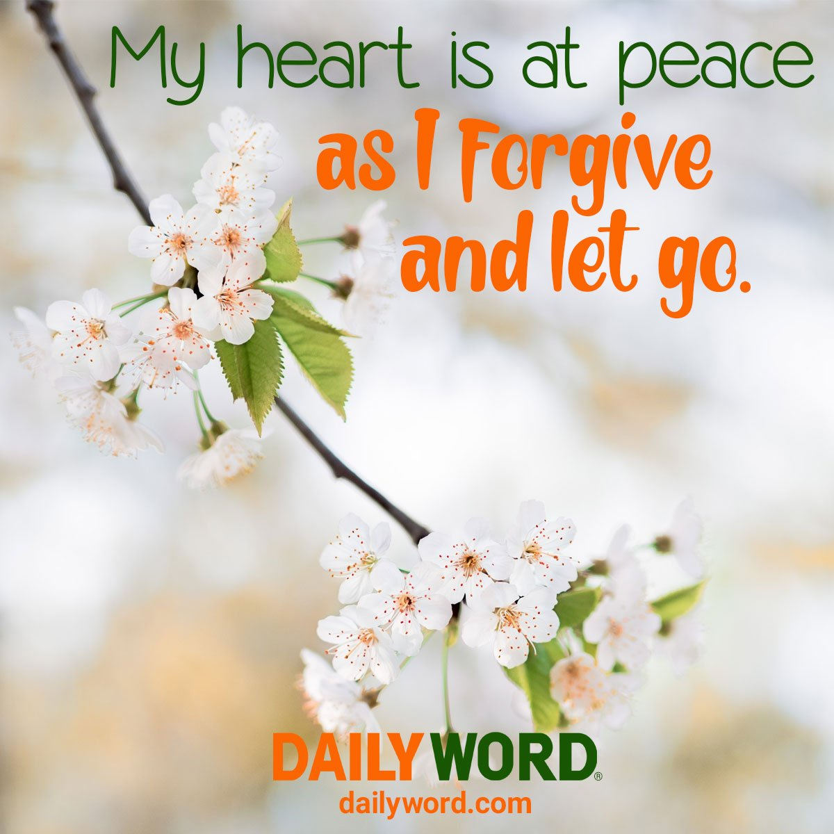 Forgive - My heart is at peace as I forgive and let go. bit.ly/2nqIL06 #forgive #peace #livingunity
