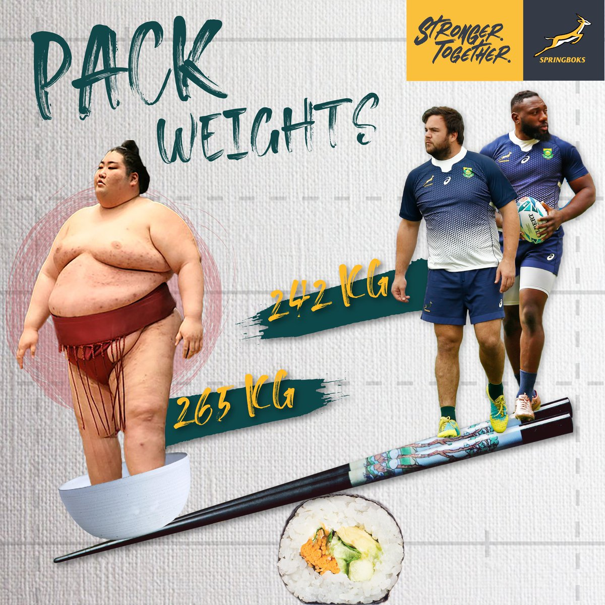 #EastvsWest Volume 3: Tendai Mtawarira (117kgs) and Frans Malherbe (125kgs) combined weight is still less than the heaviest ever Japanese sumo wrestler in history, Yamatoyama Ryuta, who weighs 265kgs 🇿🇦🇯🇵 #StrongerTogether #RWC2019