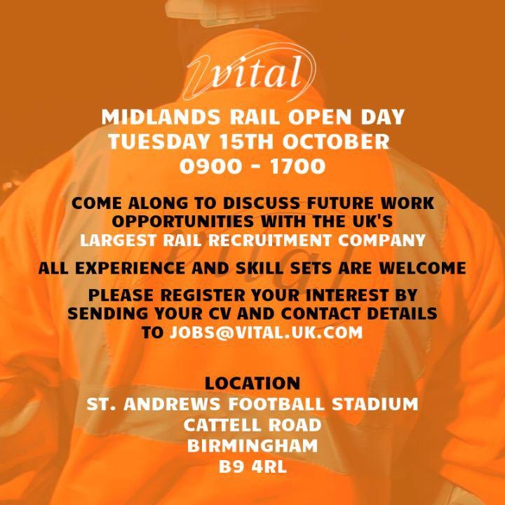 All feel free to join Birmingham/Midland division for a chat tomorrow!If have a valid PTS or fancy a career change your all welcome! @BCFC @NetworkRailBHM @networkrail @WhatsOnBMail @WhatsOnBrum @WestMidRailway #Careerchange #Allwelcome
