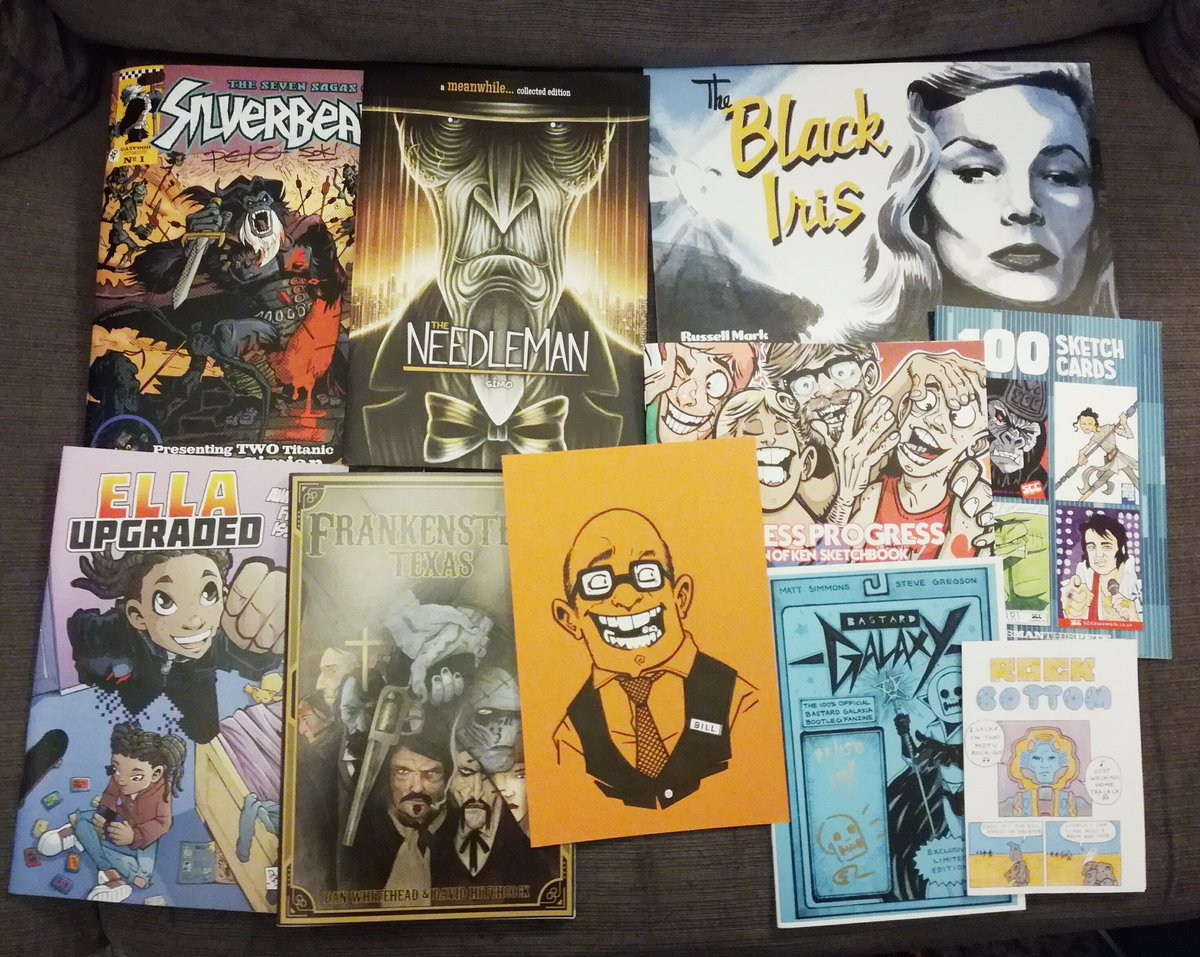 Here comes the @comicartfest Haul!!!!! It's bigger than I thought. I swear some where swaps and even gifts! 😊🤖🤖 amazings pals and roommates #Zcrawlordz @thismanthispete @sonofken @SIMO_paints @russell_m_olson @DanWritehead @SheriffFreak  #comics #creators #originalart