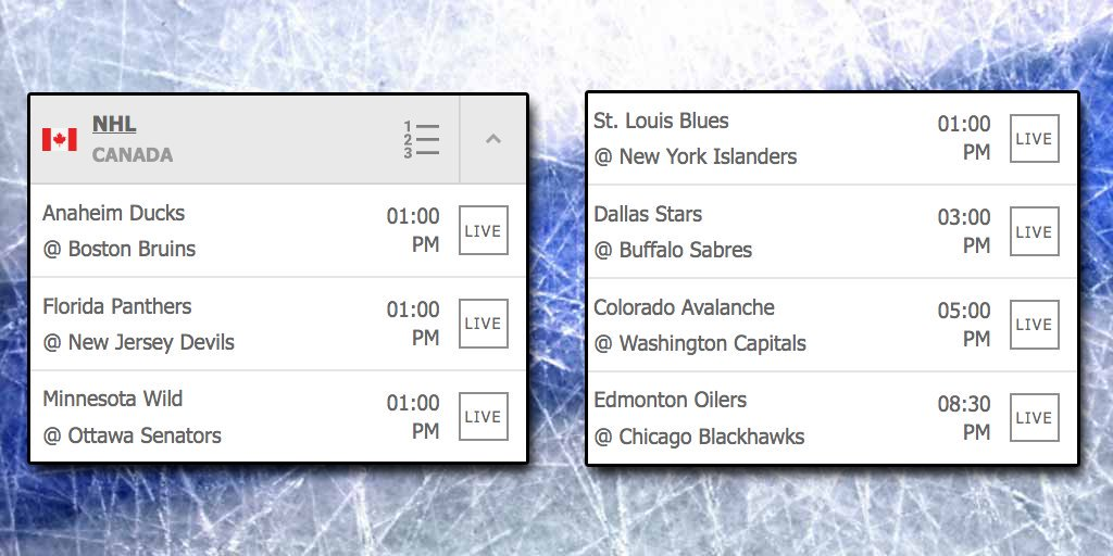 The #Thanksgiving Monday schedule of #NHL games with 7 games on the ice today