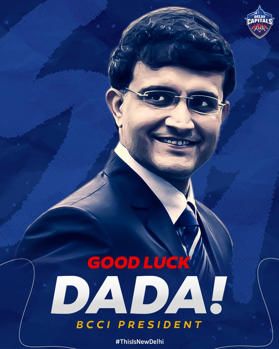 Leadership certainly sits well with Dada! 🙌 One of the best captains to have led #TeamIndia will now lead Indian Cricket to greater heights 😎 Good luck, @SGanguly99 👍 #ThisIsNewDelhi #DelhiCapitals #SouravGanguly #Dada #BCCIPresident