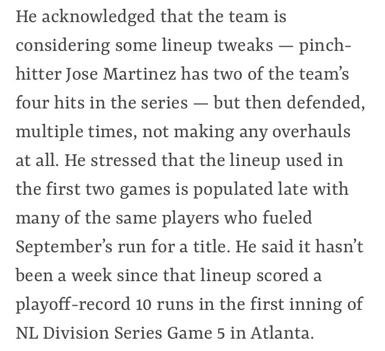 This is from Goold's article. This is bad. Shildt doesn't realize what outliers are and he has no idea Fowler was dreadful in September. Ugh. #STLCards #TimeToFly