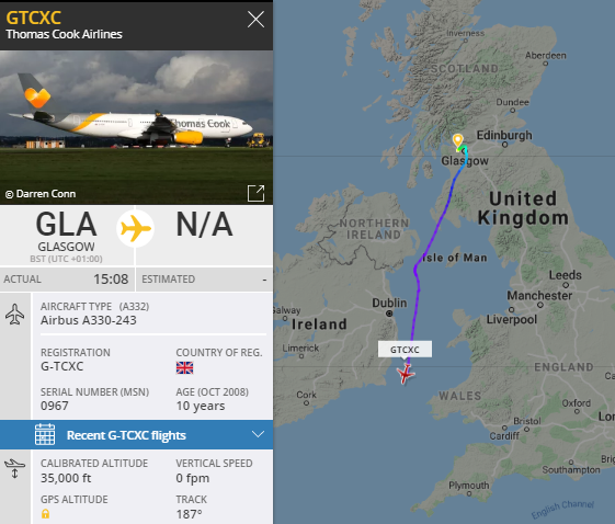 Ex Thomas Cook A330, G-TCXC on the move back to lessor ACG. pic.twitter.com/swki4gr0BB