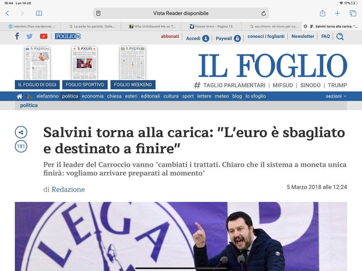 RT @erretti42: Quando Salvini diceva che bisognava uscire dall'euro. Ora no,, non se ne fa più niente. https://t.co/VUlq8r4k6O