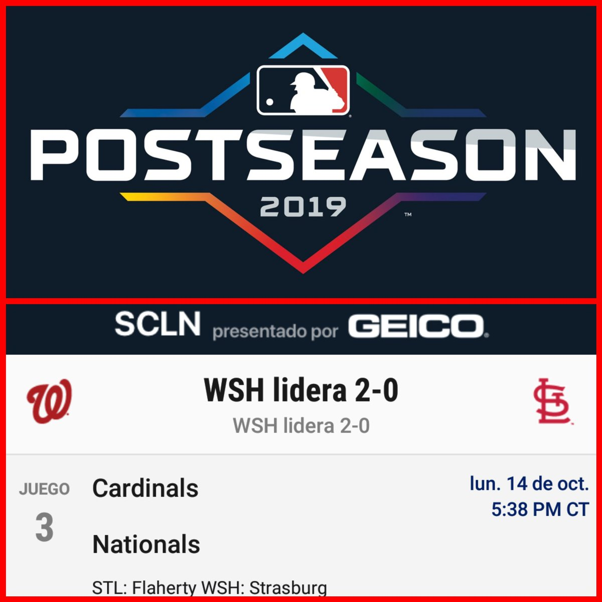 @MLB #MLB #MLBPostseason  #NLCS #SerieCampeonato  Juego 3 @Nationals vs @Cardinals  #Nationals vs #Cardinals  #OnePursuit #TimeToFly  Hora de CRC  #Nationals lidera la serie 2-0 ante #Cardinals