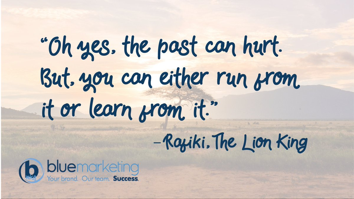 "Dropping some #LionKing knowledge today for #MotivationMonday.  ""Oh yes, the past can hurt. But, you can either run from it or learn from it."" -Rafiki<br>http://pic.twitter.com/qSfPQMVF63"
