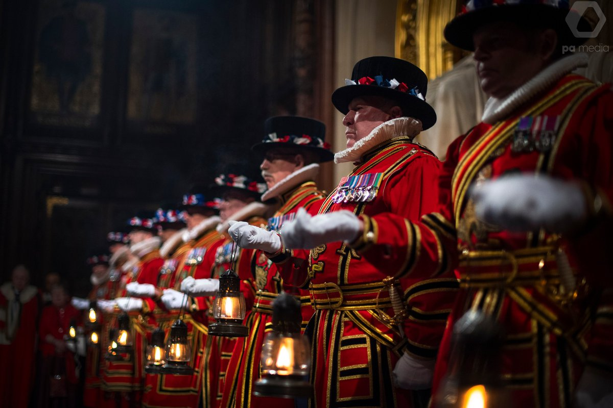 Yeomen of the Guard perform the ceremonial search of the Palace of Westminster in London, ahead of the State Opening of Parliament by Queen Elizabeth II, in the House of Lords. This traditional search has been performed since Guy Fawkes failed gunpower plot of 1605 #QueensSpeech