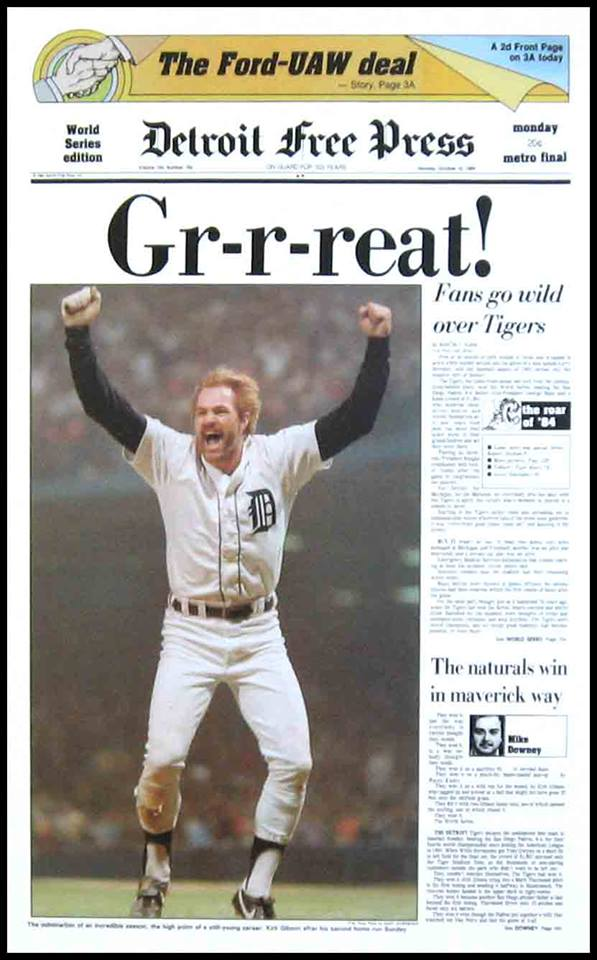 On this day in 1984: Detroit @Tigers win World Series over San Diego @Padres at Tiger Stadium. Here's how the @Freep special edition front page looked.