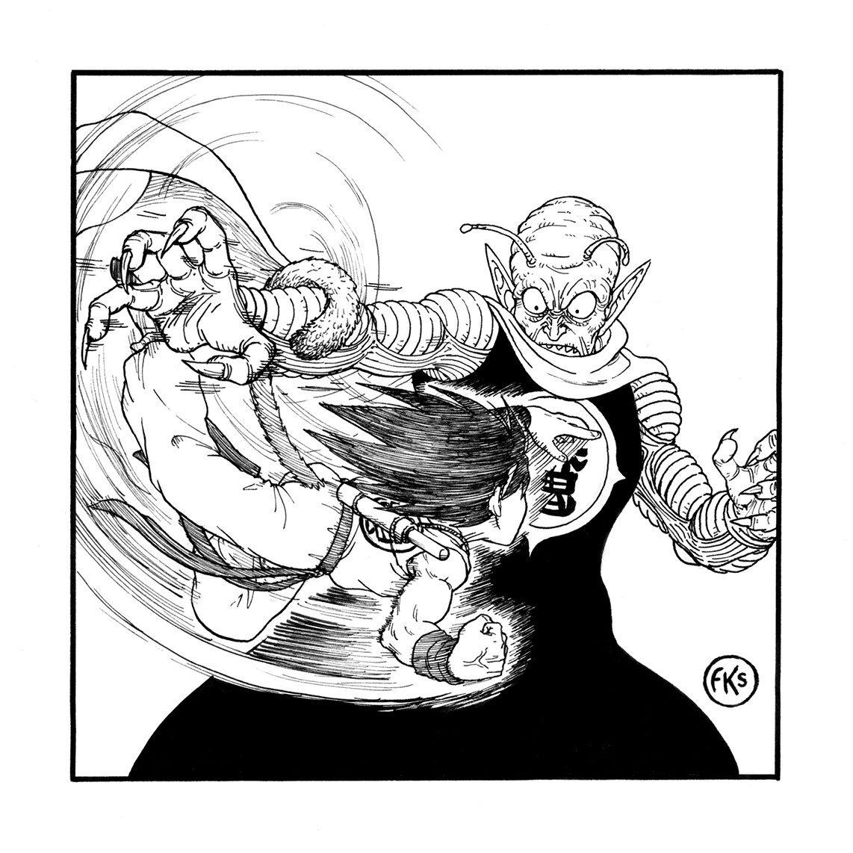 Retour sur #Inktober rattrapons le retard, jour 9 : #SWING Suspendu par le bout de sa queue, Goku se balance autour du bras du Roi Démon Piccolo pour lui asséner un gros 👊 #Inktoberday9 #Inktober2019 #Inktober2019day9 #DragonBall #fanart #Manga @inktober @CommisDesComics