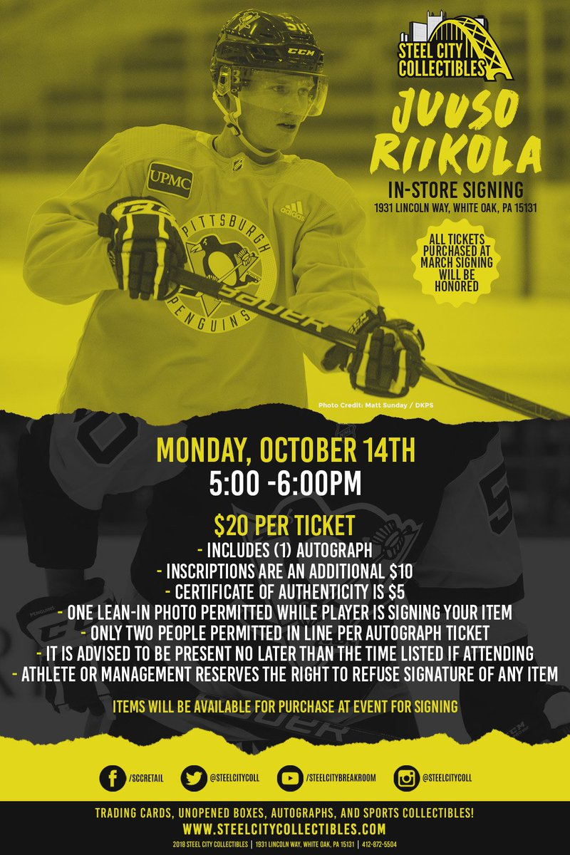 TONIGHT! 5-6 PM!  Get your tickets to the Juuso Riikola Autograph Signing at Steel City Collectibles!  Very few tickets remain, so call us to make sure you get yours!  Order tickets NOW: (412) 872-5504  RSVP on Facebook:   #Pens #LetsGoPens #Pittsburgh #NHL