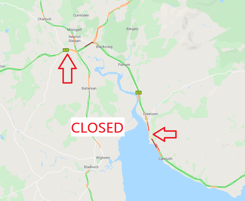 test Twitter Media - @ScotTranserv @dgcouncil ❗️UPDATE⌚️19:40  #A75 remains CLOSED⛔️ in two SEPERATE locations- both ways at Newton Stewart, and both ways east of Creetown.  Please use alt route at this time.  @ScotTranserv @dgcouncil https://t.co/dGe0cbdMjG https://t.co/y0QsdP7C0r