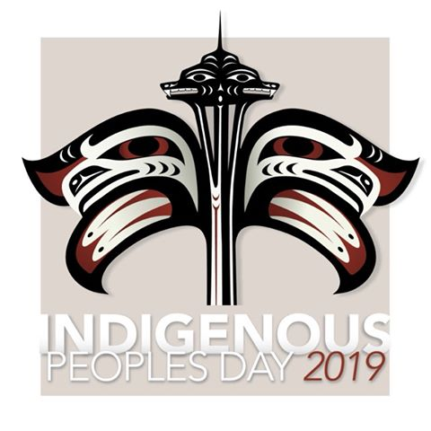 "We're excited to share the below image created by @8thgen artists. The ""Our Home"" design is the main image for today's #IndigenousPeoplesDay celebration in Seattle.  Find Eighth Generation's flagship store in the Atrium at Pike Place Market.  #PikePlaceMarket"