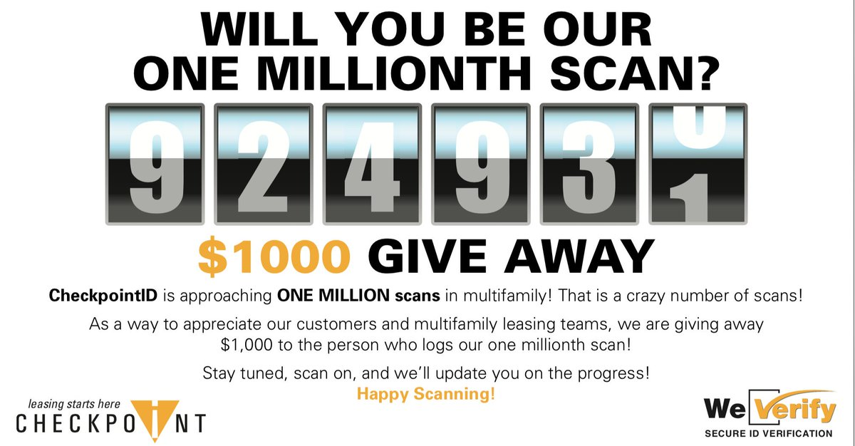 Happy Monday everyone and Happy Scanning!! Our scan number is going up quickly! We are at 924,930 scans as of today.  Keep scanning! You may just be our 1 millionth! #checkpointid #safertours #propertymanagement #weverify #rentalfraud #multifamily #idscanningpic.twitter.com/JoARs0wbdX