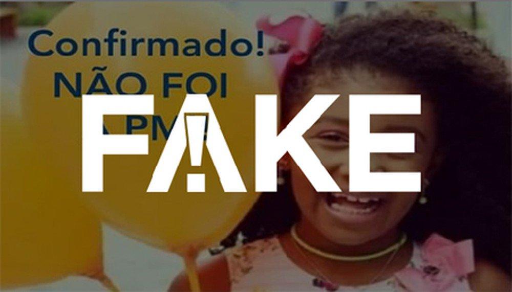 É #FAKE mensagem que diz que laudo do caso Ágatha concluiu que projétil não condiz com o usado pela PM https://glo.bo/2oH4ylk #FatoOuFake