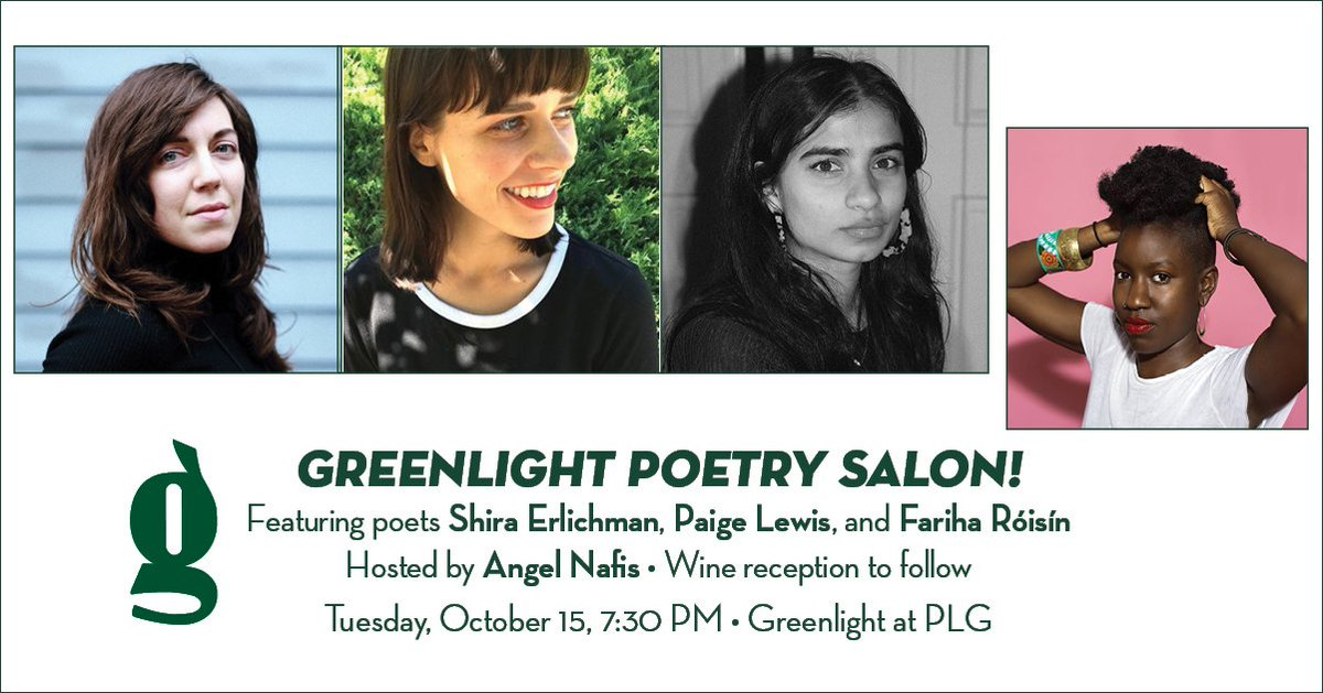 Our October #PoetrySalon is TOMORROW at PLG! Salon curator @AngelNafis hosts @sheer_awe, @Paige_M_Lewis, & @fariharoisin for a moving evening of poetry, performance, & wine! RSVP & find out more about these poets here: loom.ly/kZgQMts