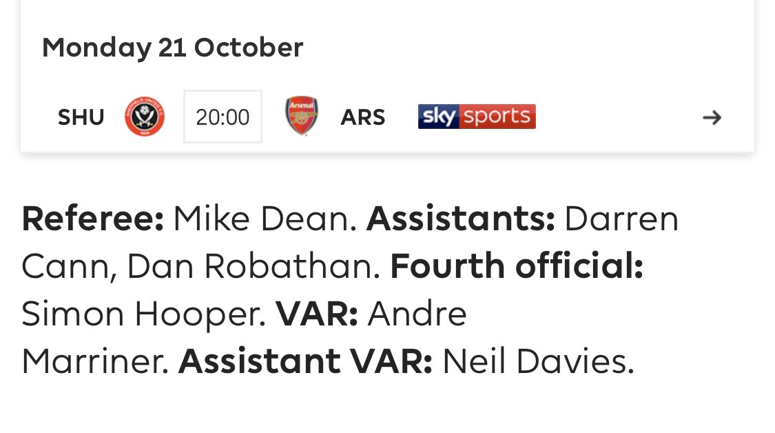 Mike Dean is the ref against Arsenal. Announce Loss @SheffieldUnited  #SUFC #twitterblades #SHUARS<br>http://pic.twitter.com/PoTu37I16o