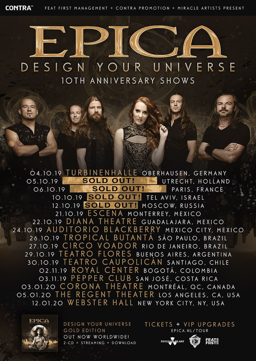 We are having a blast on the 'Design Your Universe 10th anniversary tour. Thank you for everyone who came out to one of our shows.  Next week Monday we will kick off the Latin American leg in Monterrey!    Tickets are on sale from:  http://www. epica.nl/tour    <br>http://pic.twitter.com/lpU69tuxlI