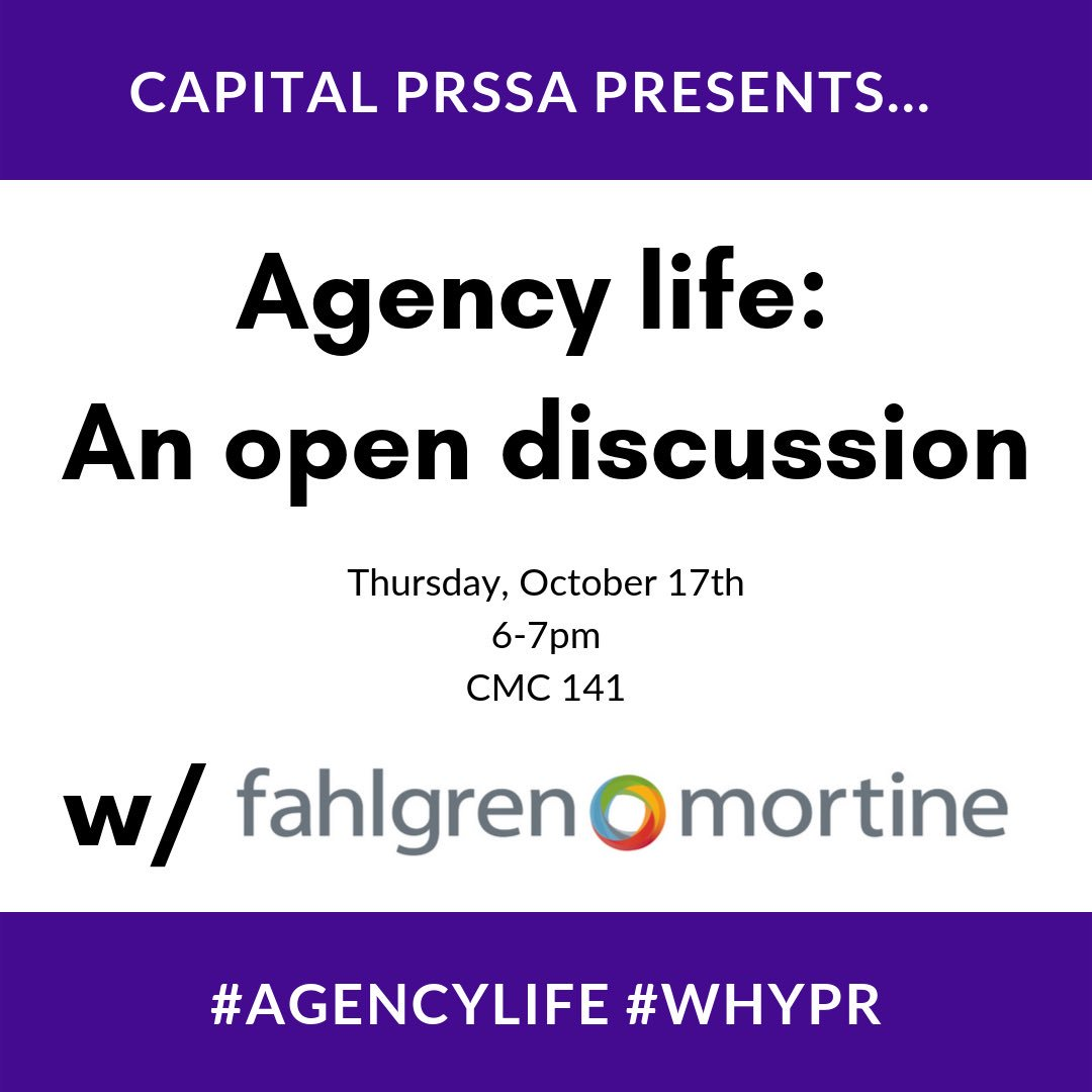 We are so excited to have professionals from @FahlgrenMortine join us this Thursday!   Be sure to join us to learn the ins and outs of agency life!  #agencylife #PRSSA #WhyPR #WhyPRSSA – at convergent media center