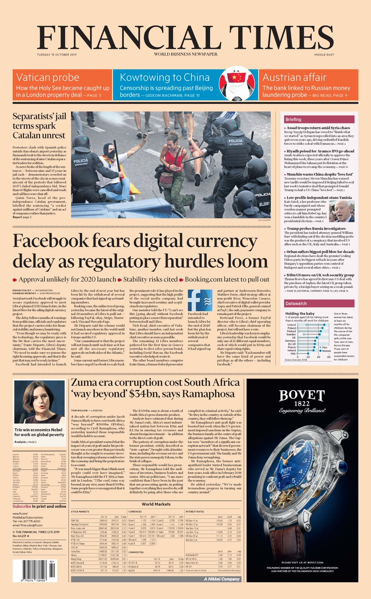 Just published: front page of the Financial Times, international edition, Tuesday 15 October       https:// on.ft.com/2Mj55TD     <br>http://pic.twitter.com/JRrLIQPcIn