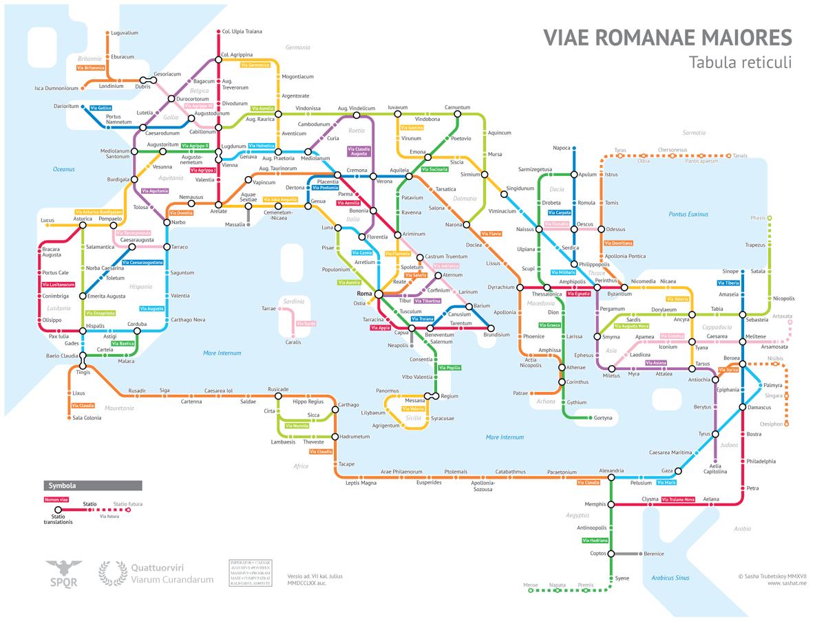 Tous les chemins mènent à Rome ! The Roman Empires Roads In Transit Map © Coudal